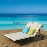 Stylish Double Seat Wrought Iron Chaise Lounge, lover beach chair with comfortable cushion, sun bed with cushion