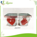 Decoration silver plated square galvanized metal flower buckets with linen pattern for girl friend birthday gift