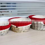 Wholesale wicker small round storage home decoration baskets with liner small willow baskets for baby