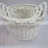 hand weaving willow wicker oval storage basket set with handle with liner