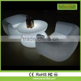 Outdoor/indoor pe color change led bar light sofa,two seats section illuminated light up lounge sofa