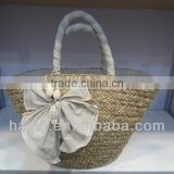 natural seagrass handmade fashion tote bag with decoration