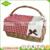 Simple and practical mini wicker hamper basket China wholesale price willow wicker picnic basket with handle