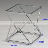 Simple design stainless steel chrome coffee table with metal square frame