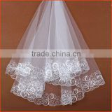 Hot Sale Long Lace Muslim Trim Bridal Wedding Veils