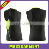 High Quality Custom 95%Polyester 5%Spandex Dry-Fit Sleeveless t-shirt Compress men Tank tops