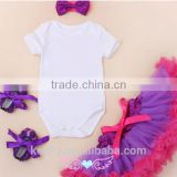 baby girls white romper with satin pettiskirts and shoes headband