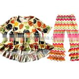 Top Quality Kids Persnickety Remake Cotton Outfit Baby Thanksgiving Turkey sets Wholesale Fall Clothing Set