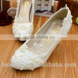 White wedding dress dresses high heels wholesale the new lace hand wedding shoes PU bridal shoe WS018