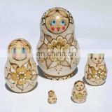 Flower Style Pyrography Wooden Nesting Dolls Russian Babushka Dolls Childrens Crafts Wooden Baby Toys Handmade Toys Set 5 pc
