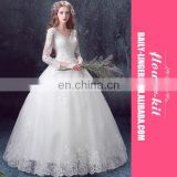 Custom Luxury Long Sleeve Trails New White Deep V-neck Ball Gown Wedding Party Dress
