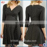 Latest Fashion Black V-neckline Stripe Wrap Front Maternity Clothes Pregnant Women Dresses