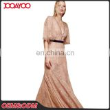 Ladies Western Dress Designs Nude Deep V Neck High Waist Embroidered Sexy Maxi Evening Dress