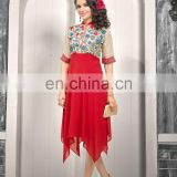 Stylist Red Color Faux Georgette Kurti