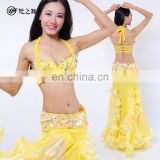 Taiwan hot sales ballroom beaded long belly dance bra and belt and skirt set