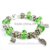 latest fashion green crystal bead bracelet jewelry european bulk wholesale charm bracelet