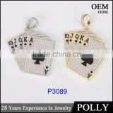 Newest model hip hop playing card pendant 10k gold plating two tone jewerly