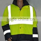 Workwear industrial hi-vis yellow&navy two tone safety parka/HI Visibility Security Vest with high visibility reflective straps