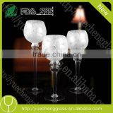 long-stemmed glass candle holders /tall glass wine bottle tealight church candle holder