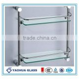 custom cut size glass bathroom washroom commodity shelf heat strengthened glass