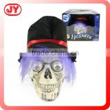 2015 hot sale gift halloween plastic skulls model wholesale with light and IC sound