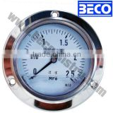 Panel mounting Silicone oil filled anti-vibration Pressure gauge with front flange YTN-100BD