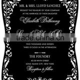 Hot sale & classy black laser cut acrylic wedding invitations with white silk screen printig
