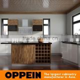 New Design U Shape Acrylic and Laminate Finish Cupboard Wooden Kitchen Cabinet with Island