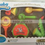 Funny baby rattles including sand hummer saxophone rattle-drum and tambourine