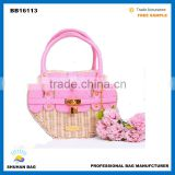 new arrival Customzied handmade cane hand bag, colorful straw basket with PU handle