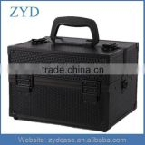 Hand Made Manufacturer Cosmetic Box Type and Aluminum Black Makeup Bag With Tray ZYD-HZMmc012