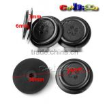 30mm(24mm) 2 Piece Black Plastic Round Clasp Button Sewing Craft For Garment Bags Accessories #FLC180-B