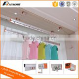 2016 new arrival ceiling mounted aluminium clothes drying rack, hand controller rotate lifting clothes rack