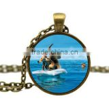 Sloth Comic animal glass jewelry alloy antique bronze 2.5 cm round 18 inch chain necklace DIY Jewelry