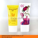 50ml flat sun block tubes container for cc cream and SPF 30 cream