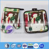kitchen accessory promotion custom printed Christmas cotton oven glove and potholder set