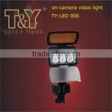 EXW Price $15/PC on MOQ 50PCs LED on-camera Video Light TY-LED006PP/PS with a battery back position by T&Y