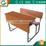 Double seat school furniture desk with bench