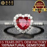 MBH jewellery hotsale diamond ring 18k gold inlay precious red ruby natural gemstone ring for female dubai gold jewelry set