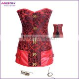 Adult Women High Quality Steel Boned Embroidery Red Leather Extra Long Lenth Steampunk Corset
