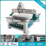 3D wood carving wood router cnc for furniture TJ 1325 with Stepper motor T-slot or Vacuum Artcam