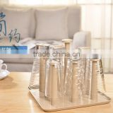Tea Set Porcelain Coffee Cup storage Rack And Saucer With Metal Rack / Drinkware Coffee Tea Sets display Shelf