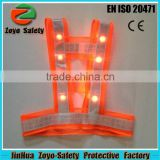 Factory Price Trade Assurance Prismatic Reflective Tape And Pocket Flashing LED Light Mesh Safety Vest