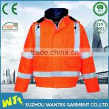 alibaba wholesale 100% polyester with pu coating jacket orange anti-static working winter bomber jacket