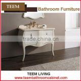 Popular high glossy paint popular bathroom furniture cabinet solid surface wash basin bamboo bath cabinet