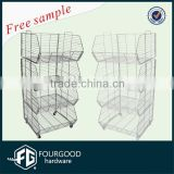 4 tire metal floor supermarket wire display basket