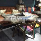Classic vintage wooden bar tables restaurant dining table
