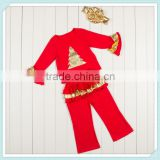 Christmas tree Children Boutique Clothing Sets Girls Christmas outfit Days Outfits Kids Clothes For Santa Sequin Gold Ruffles