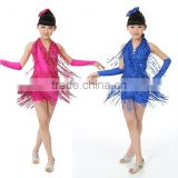 Wholesale sexy rose blue new big size sequined fringed skirts children stage performance clothing girls Latin dance dress