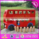 2017 Best design double decker wooden bus toy for kids W04A161-S